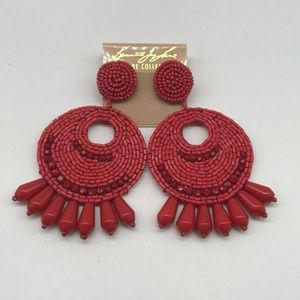 Kenneth Jay Lane Red Large Beaded Earrings